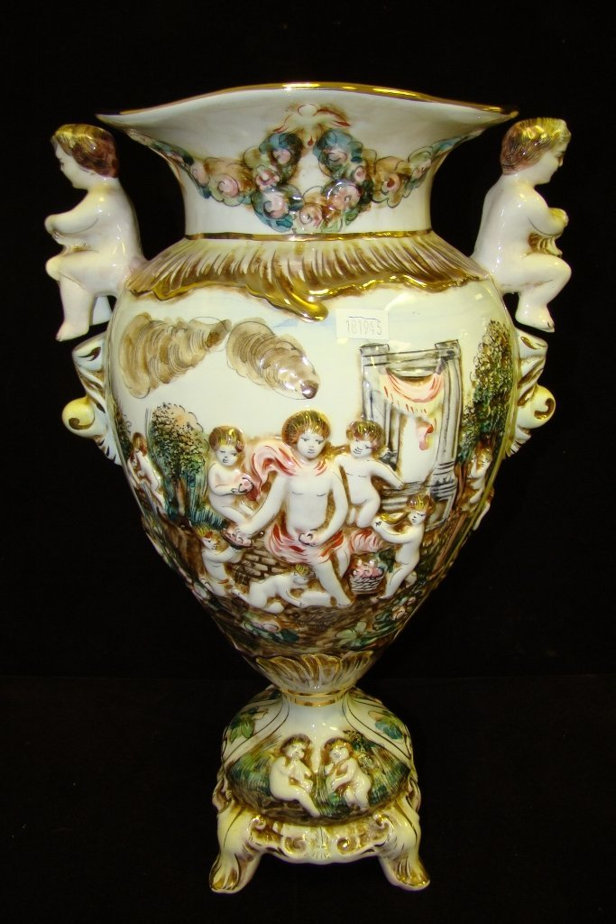 "68: China 15"" high vase marked R. Capodimonte, Italy, w"