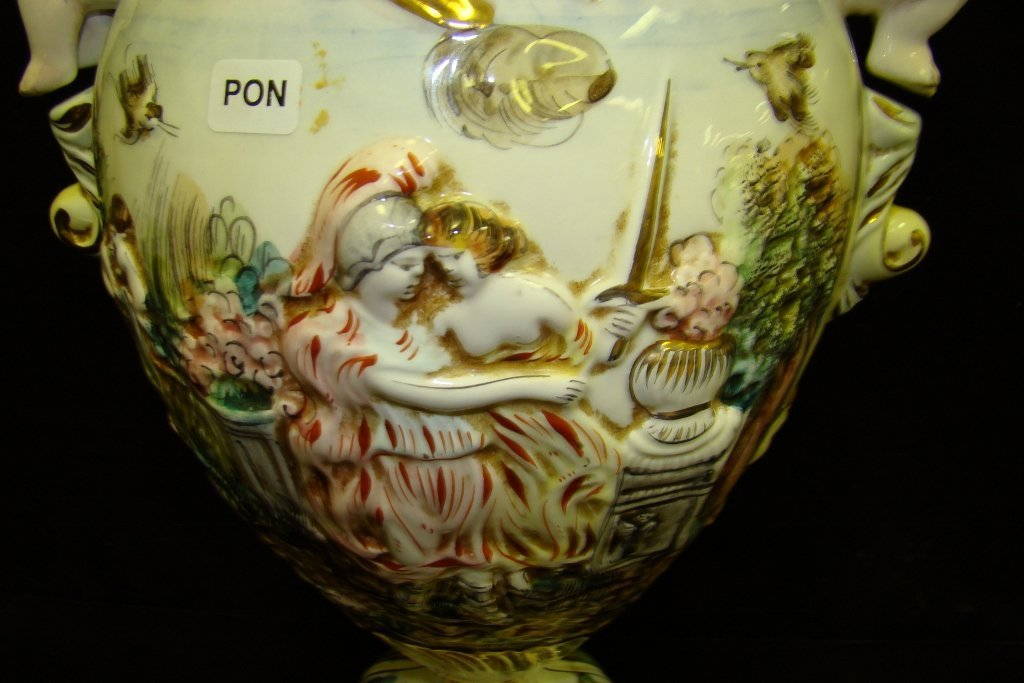 "68: China 15"" high vase marked R. Capodimonte, Italy, w - 3"