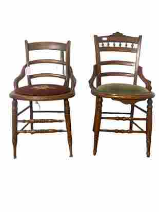 Pair of antique Victorian chair with flower pattern