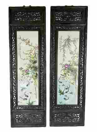 Pair of chinese porcelain screen