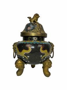 Beautiful Large chinese cloisonne incense burner