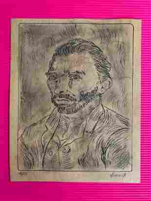 Vincent Van Gogh Drawing On Paper (In the Style Of)