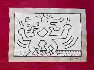 Keith Haring mixed media drawing (in the style of)