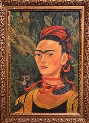 Frida Kahlo (Oil on Canvas) In the Style of