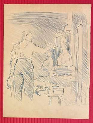 Robert Henri Drawing (In the Style of)