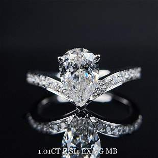 18K White Gold 1.01 CT GIA H SI1 Pear Diamond Ring