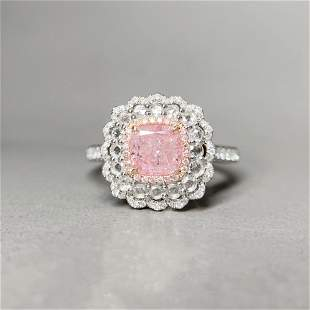 18K White Gold 1.512 CTW GIA Cushion Pink Diamond Ring