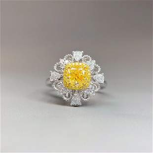 18K White Gold 1.01 CT GIA Yellow  Diamond Ring