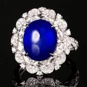 18K White Gold 9.675 CTW Sapphire & Diamond Ring