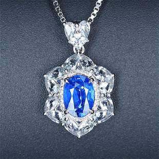 18K White Gold 1.42 CTW Sapphire & Diamond Pendant