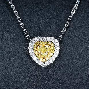 18K White Gold 0.32 CTW Yellow Diamond Pendant