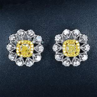 18K White Gold 1.15 CTW Yellow Diamond Earrings
