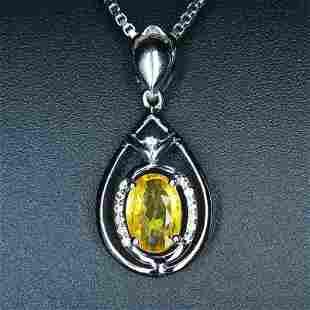 18K White Gold 1.2 CT Sapphire & Diamond Pendant