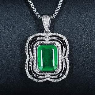 18K White Gold 1.52 CTW Emerald & Diamond Pendant