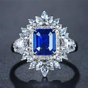 18K White Gold 2.16 CTW Sapphire & Diamond Ring
