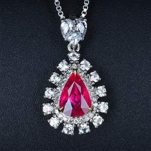 18K White 1.74 CTW Ruby & Diamond Pendant
