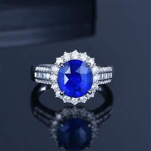 18K White Gold 2.71 CTW Sapphire & Diamond Ring