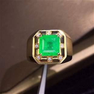 18K White Gold  3.05CT Emerald & Diamond Ring