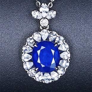 18K White Gold 2.3 CT Sapphire & Diamond Pendant