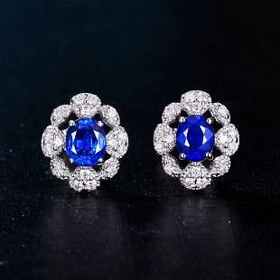 18K White Gold 0.87 CT Sapphire & Diamond Earrings