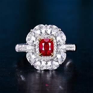18K White Gold 1.02 CTW Ruby & Diamond Ring
