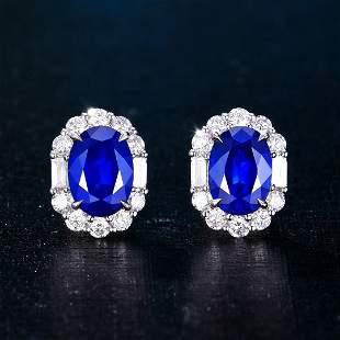 18K White Gold 2.5 CTW Sapphire & Diamond Earrings