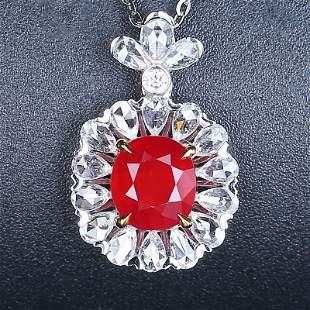 18K White Gold 2.00 CTW Sapphire & Diamond Pendant