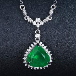 18K White Gold 2.0 CTW Emerald & Diamond Necklace