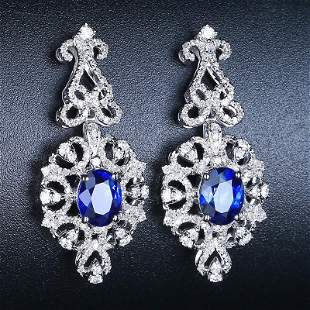 18K White Gold 2.49 CTW Sapphire & Diamond Earrings