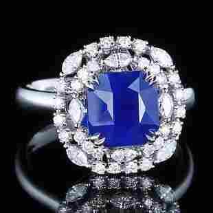 18K White Gold 3.31 CTW Sapphire & Diamond Ring
