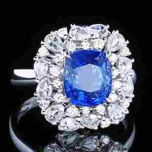 18K White Gold 4.54 CTW Sapphire & Diamond Ring
