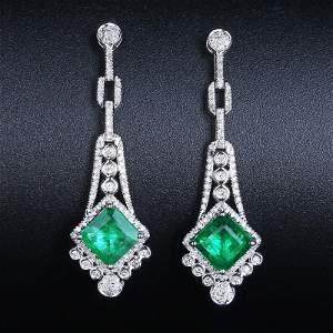 18K White Gold 2.17 CTW Emerald & Diamond Earrings