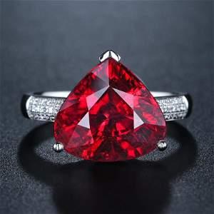 18K White Gold 7.845 CTW Tourmaline & Diamond Ring