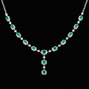 18K White Gold 5.332 CTW Emerald & Diamond Necklace