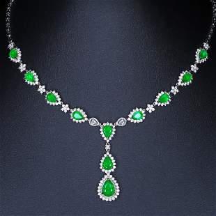 18K White Gold 8.65 CTW Emerald & Diamond Necklace