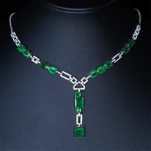18K White Gold 13.8 CTW Emerald & Diamond Necklace