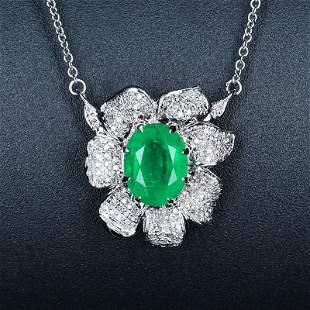 18K White Gold 2.25 CTW Emerald & Diamond Necklace