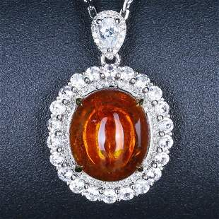 18K White Gold 6.13 CTW Partschinite & Diamond Pendant