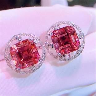 18K White Gold 7 CT Tourmaline & Diamond Earrings