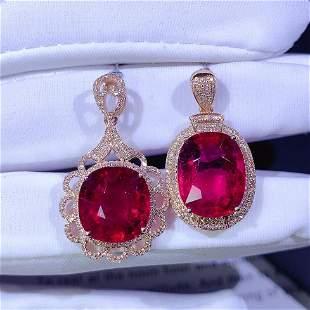 18K Rose Gold 6 CT Tourmaline & Diamond Pendant