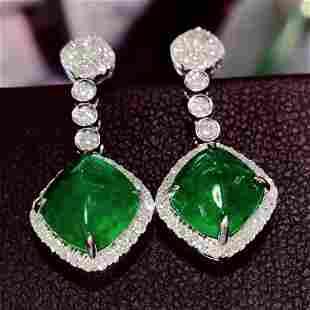18K White Gold 6 CT Emerald & Diamond Earrings