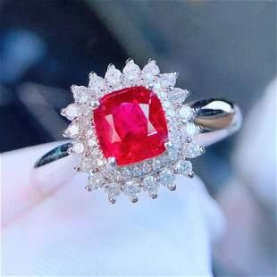 18K White Gold 1.1 CT Spinel & Diamond Ring