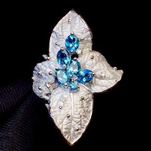 18K White Gold 1.62 CT Aquamarine Ring