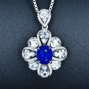 18K White Gold 2.02 CTW Sapphire & Diamond Necklace