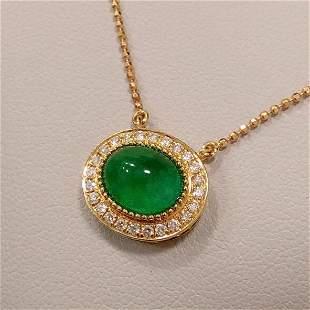 18K Yellow Gold 2.343 CTW Emerald & Diamond Necklace