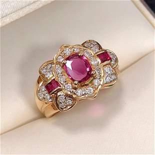 18K Yellow Gold 1.0 CTW Ruby & Diamond Ring