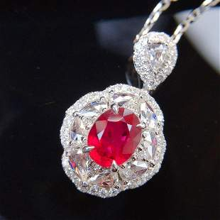 18K White Gold 1.97 CTW Ruby & Diamond Pendant