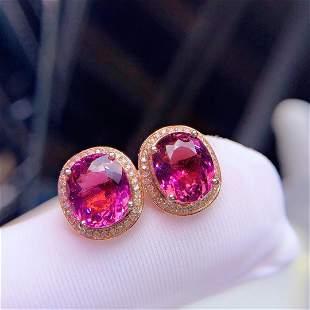 18K Rose Gold 5.77 CT Tourmaline & Diamond Earrings