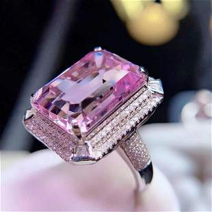 18K White Gold 17.6 CT Kunzite & Diamond Ring