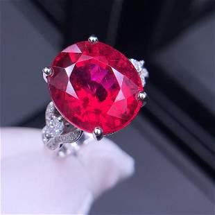 18K White Gold 9 CT Tourmaline & Diamond Ring